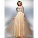 ts couture® formalno večernja haljina plus size / mali-line Scoop poda tila / šljokicama sa izvlačenja / luk (s)