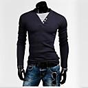 男性用 プレイン カジュアル Tシャツ,長袖 コットン混,ブルー / ホワイト