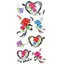 1ks dámské nepromokavé dočasné tetování noha / ruka / zápěstí tetování glitter srdce růže těla tetování (18,5 cm * 8,5 cm)