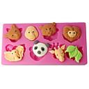 četiri-c cupcake plijesni šumske životinje sugarpaste plijesni boja roza