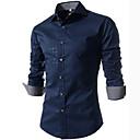 Karirani uzorak Muška Majica Ležerne prilike / Plus veličine,Pamuk / Poliester Dugih rukava Plava / Bijela