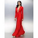 ts couture® formalno večernja haljina plus size / mali omotač / stupac v-izrez do poda dres s ruching