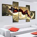 手描きの 抽象画 5枚 キャンバス ハング塗装油絵 For ホームデコレーション
