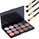 15 barev profesionální teplé make-up nahá oční stíny s perleťovým světlo lesk paleta kosmetické + 4ks tužku makeup kartáč