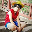 Inspired by One Piece Monkey D. Luffy Anime Cosplay Costumes Cosplay Suits Patchwork Red / Blue Sleeveless Vest / Shorts
