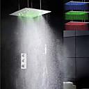 シャワー水栓 - 現代風 - LED / サーモスタットタイプ / レインシャワー / ハンドシャワーは含まれている - 真鍮 (クロム)