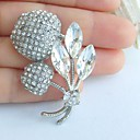 1,97 palců silver-tone jasné drahokamu křišťálově třešeň brož umělecké dekorace