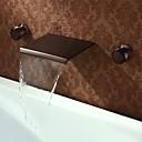 アンティーク調 壁式 滝状吐水タイプ with  真鍮バルブ 二つのハンドル三穴 for  オイルブロンズ , バスルームのシンクの蛇口