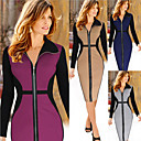 Women's V-Neck Dresses , Cotton Blend Bodycon Long Sleeve Natural
