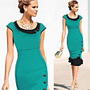 Women's Round Layered Dresses , Cotton Blend Bodycon Short Sleeve Natural