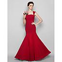 Lanting Bride® Do poda Šifon Haljina za djeverušu Sirena kroj Kvadrat Plus veličina / Niska građa s Nabori
