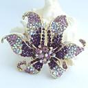 nádherný 3,74 palce zlato-tón fialový drahokamu křišťálově orchidej květina brož přívěsek