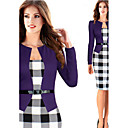 Women's Square Dresses , Cotton Blend Bodycon Long Sleeve Natural