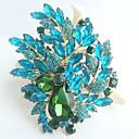 nádherný 4,33 palce zlato-tón tyrkysová zelená drahokamu krystal květina brož art deco brož kytice