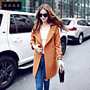 Women's ¾ Sleeve Polyester Trench Coat , Vintage/Casual/Cute/Party/Work