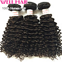 "3Pcs/ Lot 8""-30"" Peruvian Deep Wave  Virgin Hair Wefts Natural Black 1B# Human Hair Weave Bundles Tangle Free"