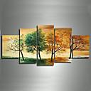 手描きの近代的な風景4シーズンツリーの写真何フレームを設定していないキャンバスの5pcs /上の油絵