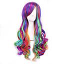 japonské Harajuku tři barevný přechod fialová paruka kudrnaté vlasy cos parukou