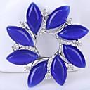 女性は、多色かわいいファッションの葉の女の子のブローチのためのブルークリスタルラインストーンの花の卸売ブローチピン