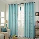 Dvije zavjese Neoclassical Cvjetni / Botanički Plav Bedroom Posteljina / pamuk Blend Blackout Zavjese Zavjese