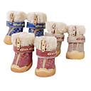 犬用品 シューズ、ブーツ ファッション レッド / ブルー / ブラウン 冬 PUレザー犬 靴