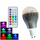 9W GU10 LEDボール型電球 A60(A19) 3 ハイパワーLED 500 lm RGB 明るさ調整 / リモコン操作 / 装飾用 AC 100-240 V 1個