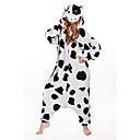 Kigurumi Pyžama New Cosplay® / Kráva Leotard/Kostýmový overal Festival/Svátek Animal Sleepwear Halloween Černá/bílá Patchwork polar fleece