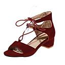Ženske cipele-Sandale-Formalne prilike / Ležerne prilike / Zabava i večer-Flis-Kockasta potpetica-Udobne cipele-Crna / Smeđa / Crvena