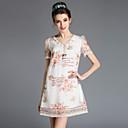 aofuli ljetni modni plus size žene berba elegantna v-izrez vez patchwork čipka gaza haljina