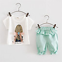 Dívka je Tisk Léto Sady oblečení Bavlna Zelená / Růžová