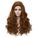 vrhunske kvalitete dugim smeđe boje kovrčava kosa europska tkati sintetička perika
