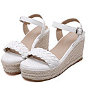 Women's Shoes Leatherette Wedge Heel Wedges / Heels Sandals Outdoor / Casual White / Gray