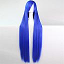 Europa i Sjedinjene Države nova boja perika 100 cm visoka temperatura sibao plave duge ravne kose perika