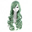 antény bez patice dlouhé vlny zelená barva cosplay paruka syntetické