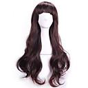 女性の自然なリアルなウィッグコスプレウィッグが安い人工毛かつら前髪をperruque暗褐色の波状カーリーセクシーpelucas