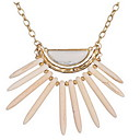 Gold Alloy Chain Layered Pendant Necklack with Natural Stone Gem