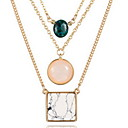 Gold Alloy Chain Layered Black Tissue Pendant Necklack with Natural Stone Gem