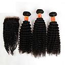 3 snopovi Brazilski kinky kovrčava kosa s djevica zatvaranje neprerađenog ljudske kose tkati i slobodnim / srednji dio čipke zatvaračima