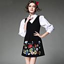 aofuli evropa etnické výšivky ženy vinobraní elegantní falešné dvoudílné s dlouhým rukávem plus velikosti šaty