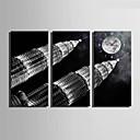 Módní a moderní Ostatní Nástěnné hodiny,obdélníkový Plátno 30 x 60cm(12inchx24inch)x3pcs/ 40 x 80cm(16inchx32inch)x3pcs Vevnitř Hodiny