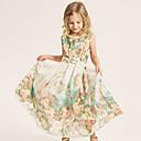 Dívka je Plážové Květinový Léto / Jaro Šaty Bavlna / Polyester Zelená / Růžová