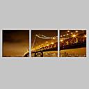 E-home® pruži dovela platnu print umjetnosti noć pod most bljesak učinak vodio set od 3