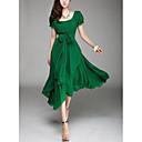 Ženski Haljina Vintage Plus veličine Jednobojni,Midi U izrez Poliester