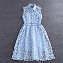 Jednoduchý demo jít ven na ulici elegantní pouzdro dressprint límec u košile midi bez rukávů, modrá / růžová / bílá rayon