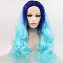 シルビア合成レースフロントかつら青い髪オンブルヘア耐熱長い自然の波の合成かつら