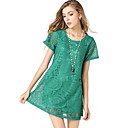 Women's Casual/Daily Simple Swing Dress,Jacquard Round Neck Above Knee Short Sleeve Red / Black / Green Polyester Summer / Fall Mid Rise