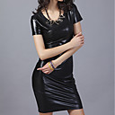 女性 シンプル カジュアル/普段着 シース ドレス,ソリッド ラウンドネック 膝上 半袖 ブラック ポリエステル 冬 ミッドライズ マイクロエラスティック ミディアム
