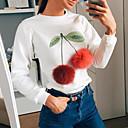 Žene Slatko Ležerno/za svaki dan Regularna Pullover,Bijela Cvjetni print Okrugli izrez Dugih rukava Poliester Jesen / Zima Srednje