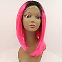 シルビア合成レースフロントウィッグ黒根ピンクの髪オンブルヘア耐熱中間の長さの直線合成かつら