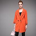 Dámské Jednobarevné Jdeme ven / Běžné/Denní Jednoduché Kabát-Polyester Podzim / Zima Do V Dlouhý rukáv Oranžová Střední